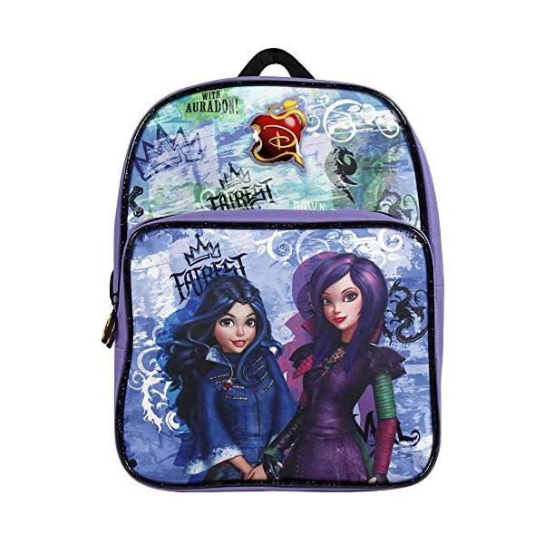 51AdpFnPAUL. SS600  - Descendants 13734 - Pequeña mochila de niña con gran compartimiento de la serie animada Disney Descendientes, morado