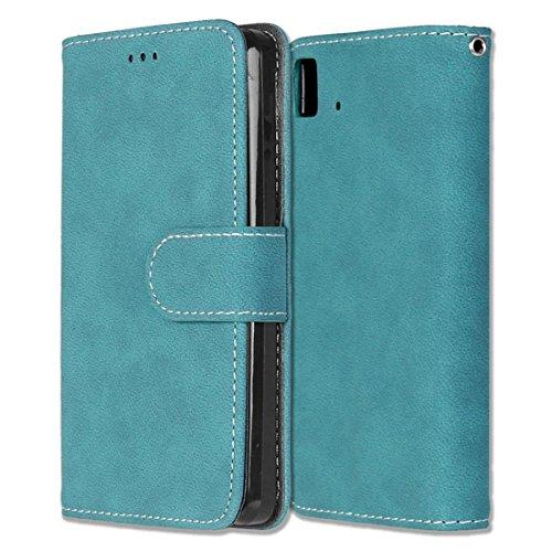 BQ Aquaris E4.5 Hülle, Chreey Matt Leder Tasche Retro Handyhülle Magnet Flip Case mit Kartenfach Geldbörse Schutzhülle Etui [Blau]