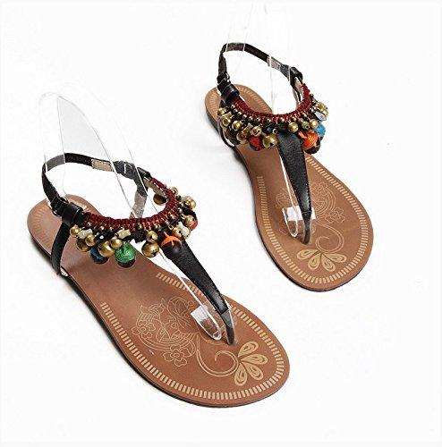 Folk Style Schuhe handgefertigte Perlen Tongling Leder Flip Flops und weiblichen Freizeit Sommer Black