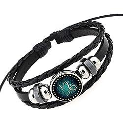 NovaLuna – Stufenlos verstellbares Sternzeichen Armband 'Blue Zodiac' aus Schwarzem Leder in Wickeloptik mit Schiebeknoten-Verschluss – Herren Damen Unisex Armband Accessoire Schmuck STEINBOCK