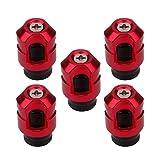 SENZEAL 5pcs 2 in 1 Ventil-Staubschutzkappen Aluminiumlegierung Autoreifen-Kappen Rot