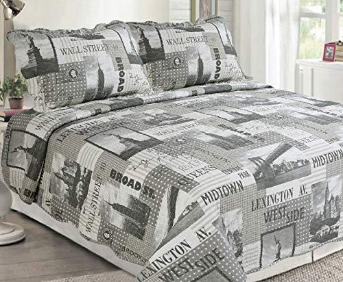 Sapphire Home 3-teiliges Bettwäsche-Set für Queen/King-Size-Betten mit 2 Kissenbezügen, Muster und Farben Queen New York City - City Queen-bett