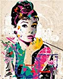 Suubboo Rahmenlos DIY Frameless Wall Decor Bilder Malen Nach Zahlen Handgemalt Auf Leinwand Gemälde Audrey Hepburn Moderne Abstrakte Ölgemälde