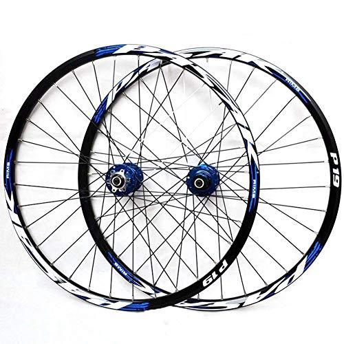 LHLCG 29inch Mountainbike Rad Palin Bearing Alufelgen Schnellspanner Cone Flower Drum Typ Scheibenbremse Sitz Black Rim,Blue (Mountainbike 29-zoll-felgen)