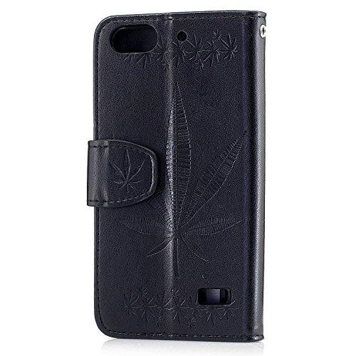 Für Huawei Honor 4C Case Cover, Premium Soft TPU / PU Leder geprägt Ahorn Muster Brieftasche Fall mit Halter & Cash Card Slots & Lanyard ( Color : Gold ) Black