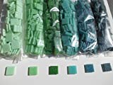 Glas Mosaiksteine 1200g Set in Grünen Nuancen: 6 Unifarben