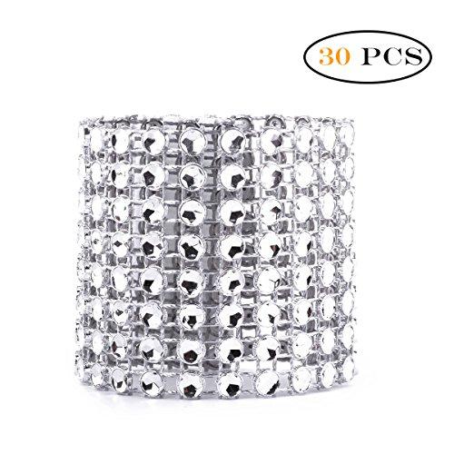 Freebily 10/30 pc 8 Reihen Strass Diamant Serviettenring für Weihnachten,Hochzeit,Taufe,Kommunion,Graduierung,Geburtstag,Bankett,usw. Silber Gold Silber 30 Pcs
