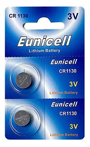 Eunicell 2 x CR1130 3V Lithium Knopfzelle 48 mAh (1 Blistercard a 2 Batterien) EINWEG