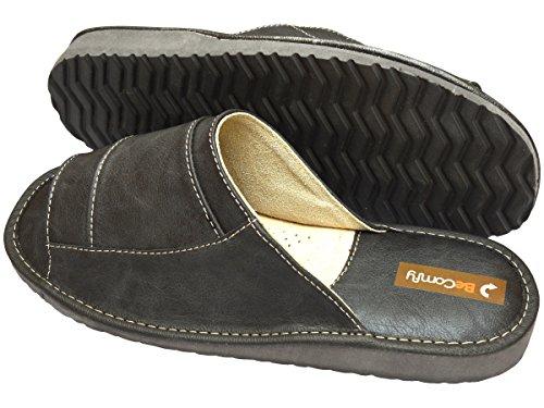 BeComfy Herren Hausschuhe Leder Pantoffeln Geschenkkarton (Wahlweise) Modell FM85 Grau