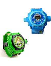 Vishwakarma Enterprises Combo Ben 10 And Doraemon 24 Images Projector Watch Watch - For Boys & Girls