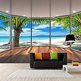Pbbzl Benutzerdefinierte Stereoskopische Balkon-Fenster-Strand-Kokosnuss-Baum-Landschafts-3D Der Hintergrund-Wand-Dekorations-Wandbildtapete Des Wand-Papier-3D-150X120Cm