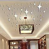 Alrens DIY(TM)8.5cm * 50pcs Twinkle Stars Ceiling Decor Parlor Crystal Reflective DIY Mirror