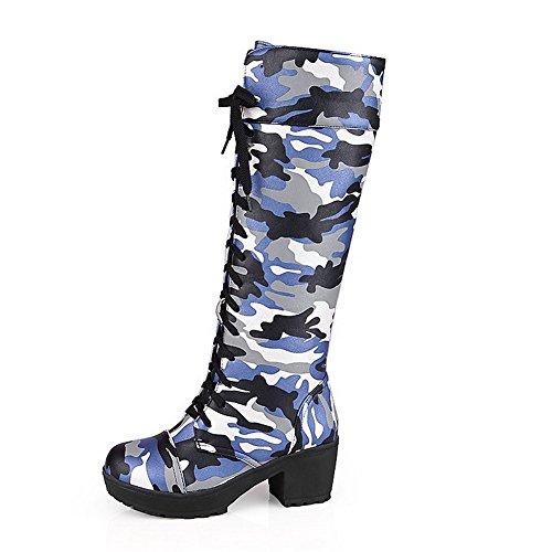 AgooLar Damen Rund Zehe Hoch-Spitze Mittler Absatz Gemischte Farbe Stiefel mit Knoten Blau