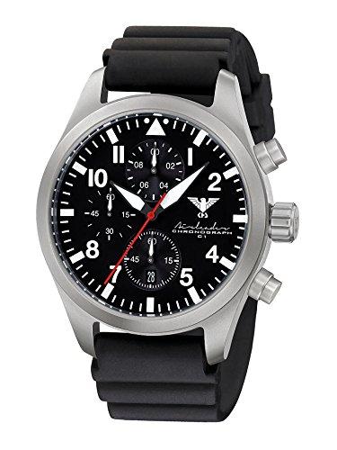 Airleader Steel Chronograph KHS.AIRSC.DB Edelstahl, Diverband schwarz, KHS Tactical Watch, Einsatzuhr, Militäruhr, Fliegeruhr