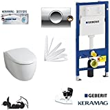 Geberit Duofix, Keramag Icon XS WC réservoir Kit complet + Couvercle pas Softclose *, sans marge Kera Tect, acoustique, Delta 11Chromé