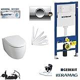 Geberit Duofix Vorwandelement, KERAMAG ICON WC Spülrandlos Komplettset + Deckel Absenkautomatik, Keratect Beschichtung, Schallschutz, Delta 11 CHROM