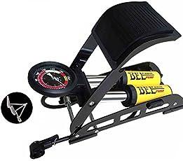 VelVeeta 200PSI Aluminum Body High Pressure TwinBarrel Foot Air-Floor Bike Foot-Pump with Accurate Gauge,Smart Valve Head(YELLOW_TWIN_FOOT_PUMP_101)