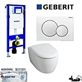 Geberit Duofix UP 320 Vorwandelement mit Sigma01, Keramag ICON XS , rimfree, Spülrandlos, Tiefspül-WC, inkl. Sitz ,Keratect Beschichtung