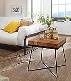 KS-Furniture Zari - Tavolino da Salotto in Legno di Acacia Massiccio, con Struttura in Metallo, 45 x 45 x 51 cm, Colore: Marrone