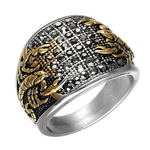 OOFAY Ring Scorpion Hip Hop Edelstahl Black Diamond Geometrische Typ Titan Steel Antiallergische Persönlichkeit Golden Man Ring,8 - Diamond Ringe Black