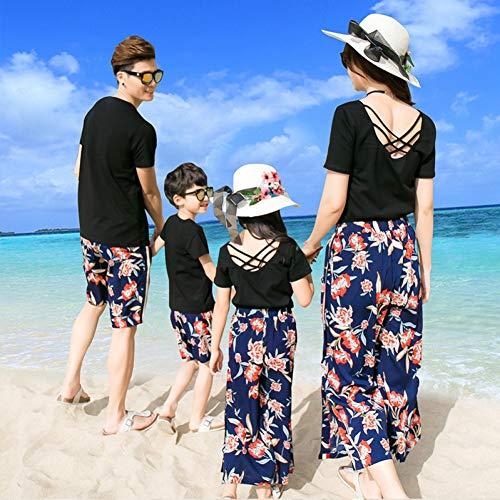 DAHDXD Baumwolle Sommer Familie Set CasualBlack Floral Mutter/Vater/Kind T-Shirt + Shorts/Capris Holiday Beach/Seaside passende Kleidung -