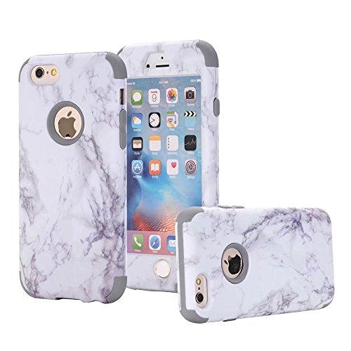 Mit Gebaut Kamera Fernglas (iPhone 6/6S Hülle, MUTOUREN 3 in 1 Silikon Schutzhülle mit Marmor Muster Bumper Case Anti Scratch Handyhülle für iPhone 6/6S (4,7 Zoll) (Weiß/DunkelBlau))