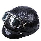 Cool Halbhelm POSSBAY Motorrad Scooter gesichtsoffen Helm mit Visier UV-Schutzbrillen Größe: 54cm- 56cm