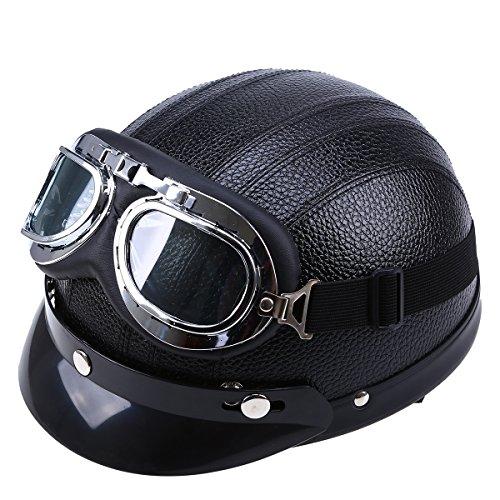 Cool Halbhelm POSSBAY Motorradhelm mit UV Fliegerbrille Größe: 54cm- 56cm