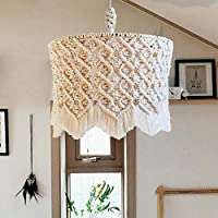 ZCRFY Chandelier Lampshade Macrame Wall Hanging Tapestries Handmade Woven Tapestry Bohemian Rope Creative Decor House Aerial Charm Decoration Pendant Shade,40 * 35cm