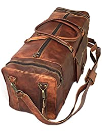 "24"" Inch Real Goat Vintage Leather Large Handmade Travel Luggage Bags In Square Big Large Brown Bag Carry On By..."