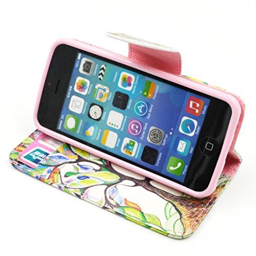 Trumpshop Smartphone Case Coque Housse Etui de Protection pour Apple iPhone 5/5s/SE + Fleur de Prunier + Mode Portefeuille PU Cuir Avec Fonction Support Anti-Chocs Arbre coloré