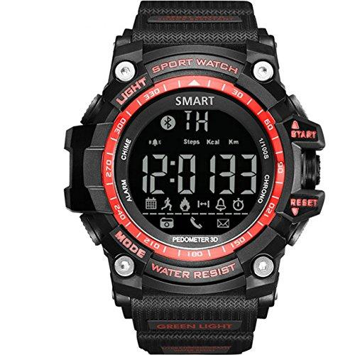 GuDoQi Digital-Sportuhr Intelligente Bluetooth 4.0 LED Uhr Unterstützung Anruf- Und SMS-Erinnerungsschrittzähler Wasserdichte Uhr Rote Farbe