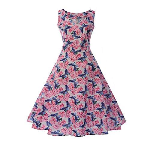 Vectry Kleider Damen 1950er Vintage Retro Cocktailkleid Rockabilly V-Ausschnitt Faltenrock Sommer Jumpsuit Kurz Ballkleid Kleiderbügel Damenkleider Kurz Hepburn Kleid (Hula Boy Kostüm)