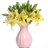 5pcs lirios artificiales flores falsas para la decoración de la boda en casa (blanco)