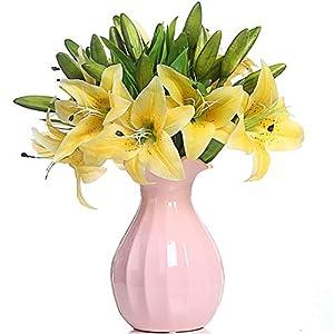 Veryhome 5pcs Lirios Artificiales Flores Falsas para la decoración de la Boda en casa (Blanco)