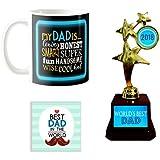 YaYa Cafe Worlds Best Dad Trophy Gift Combo Set Of 3 - Trophy, Mug And Coaster