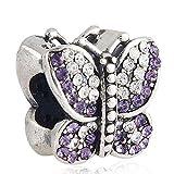 Soulbead, charm gioiello a forma di farfalla in argento Sterling 925,con pavè di cristalli austriaci tanzanite e trasparenti per bracciale snake europeo da donna