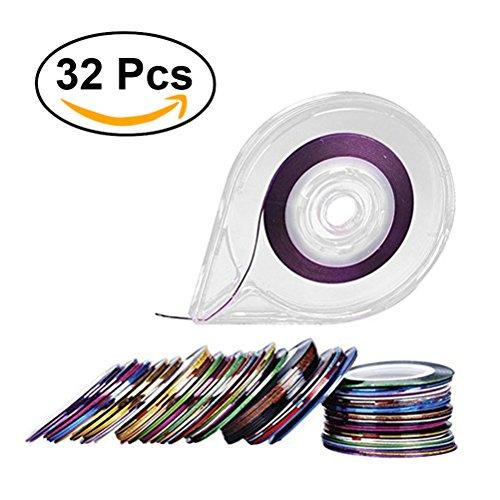 Frcolor Nail Art Striping Zierstreifen Tape Nagel Kunst Dekoration Aufkleber mit Rollerbox (32 Farben) (Art String Nail)