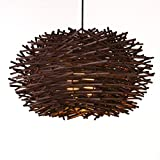 CWJ Araña - Luces Decorativas Creativas Moderno Individualidad Led Luces de ratán Terraza Comedor Dormitorio Retro Folk Candelabros Diseño de Personalidad Simple,Pequeña,marrón