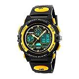Jelercy Boys Digital Analogue Watch Kids Waterproof Outdoor Sports Watch for Boys,Yellow