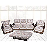 Yellow Weaves™ Floral 5 Seater Sofa Cover Set with 1 Center Table Cover