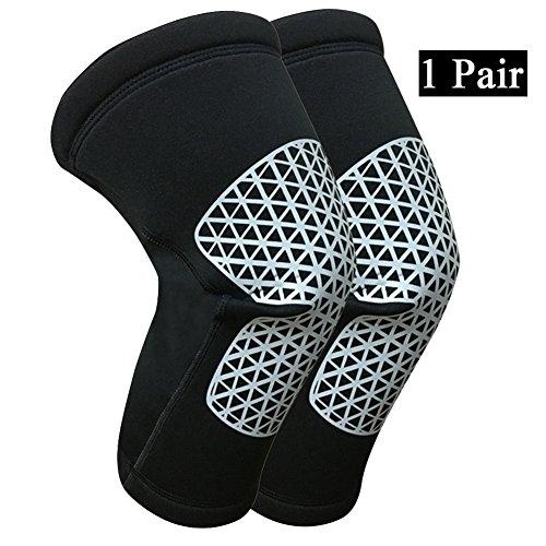 Qitun ginocchiera compressione, protezione ginocchio e sostegno manicotto per calcio, basket, allenamenti e sport vari nero xl
