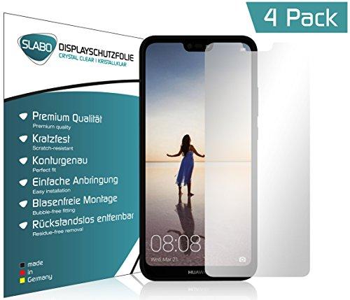 Slabo 4 x Displayschutzfolie für Huawei P20 Lite Displayfolie Schutzfolie Folie Zubehör (verkleinerte Folien, aufgrund der Wölbung des Displays) Crystal Clear KLAR - unsichtbar Made IN Germany