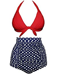 8da645481120c Aixy Women 50s Vintage Ruched High Waisted Bathing Suit Halter Strap  Bikinis Two Piece …