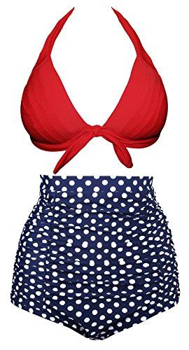 Angerella Retro Polka Dot Bikini a vita alta(BKI053-R1-L)