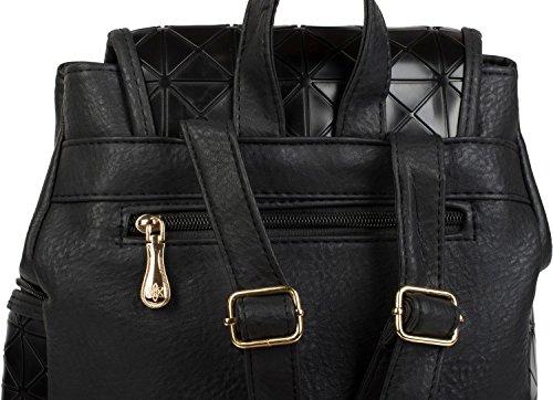 styleBREAKER zaino pochette con design geometrico a prisma, borsa, donna 02012198, colore:Nero Nero