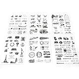 NOVAGO® 6 planches de stickers autocollants noirs tampons du monde pour décorer vos smartphones, tablettes , PC, MacBook , agenda , mug ou autres objets