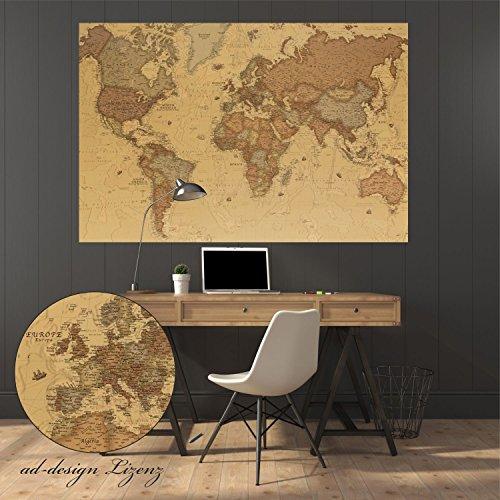 Weltkarte als Wandaufkleber, selbstklebendes Wandtattoo, world map antik in (120 x 80)