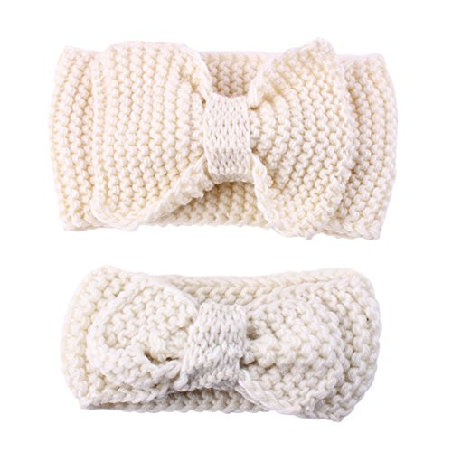 Allouli 2PC/Set Mom&Baby Hairband Hair Hoop Stretch Handmade Wool Knit Headband (Stretch-knit Cover)