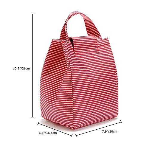 9L Stripe canvas Tote pranzo isolata Resuable Bento lunch box bag Cooler con velcro per picnic scuola lavoro viaggi Red Red